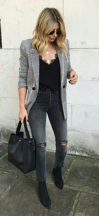 How to wear: black leather tote bag, black suede ankle boots, charcoal ripped jeans, white and black houndstooth blazer