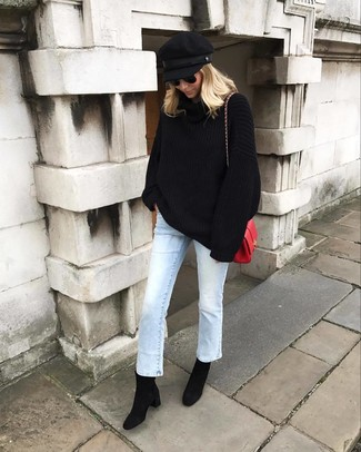 How to wear: red leather crossbody bag, black suede ankle boots, light blue jeans, black knit oversized sweater
