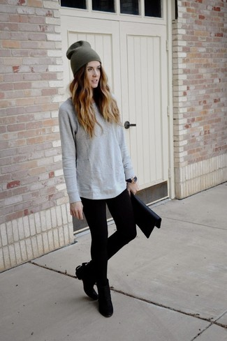 f7781ba7 ... Women's Black Leather Clutch, Black Suede Ankle Boots, Black Leggings,  Grey Long Sleeve