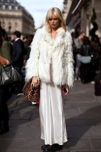 How to wear: brown leopard suede crossbody bag, black leather ankle boots, white satin maxi dress, white fur jacket