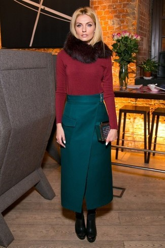 How to wear: dark green suede clutch, black chunky leather ankle boots, dark green maxi skirt, red crew-neck sweater