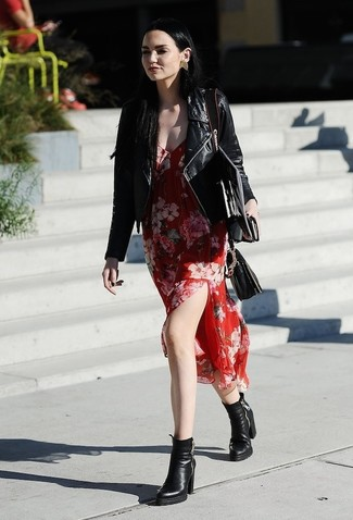 How to Wear a Red Floral Chiffon Midi Dress: A red floral chiffon midi dress and a black leather biker jacket are a good pairing worth having in your current off-duty collection. To introduce a little depth to your ensemble, introduce a pair of black leather ankle boots to this getup.