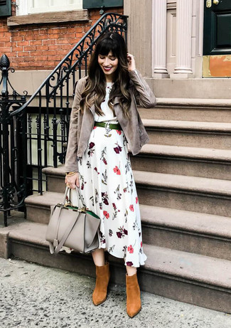 How to wear: grey leather tote bag, tobacco suede ankle boots, white floral midi dress, grey suede biker jacket