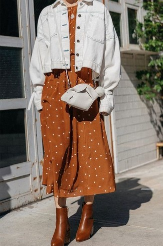 How to wear: white leather crossbody bag, brown leather ankle boots, tobacco polka dot linen midi dress, white denim jacket
