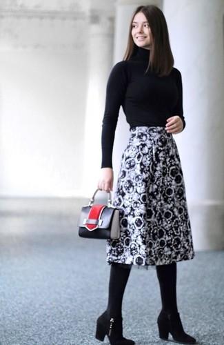 How to wear: black leather handbag, black suede ankle boots, black and white print midi skirt, black turtleneck