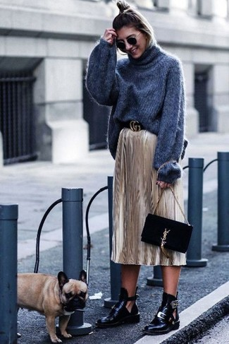 How to wear: black suede clutch, black cutout leather ankle boots, gold pleated midi skirt, charcoal knit wool turtleneck