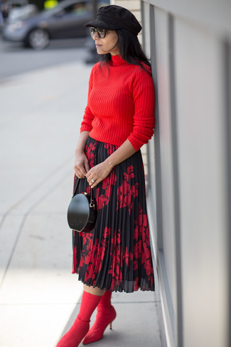 How to wear: black leather clutch, red elastic ankle boots, red and black floral midi skirt, red turtleneck