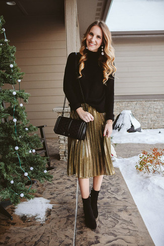 How to wear: black quilted leather crossbody bag, black suede ankle boots, gold pleated midi skirt, black knit turtleneck