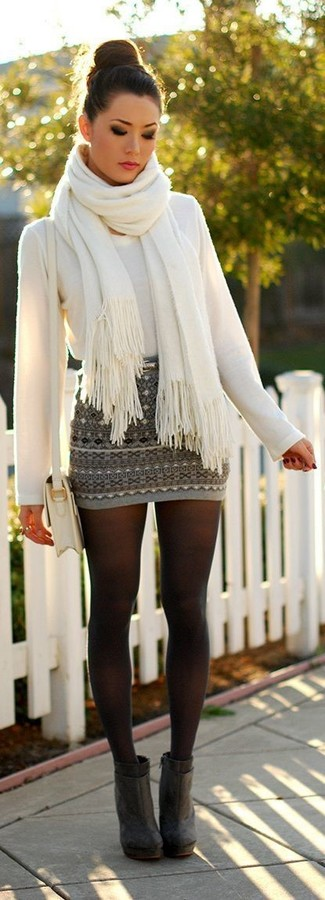 How to wear: white leather crossbody bag, charcoal suede ankle boots, grey fair isle mini skirt, white crew-neck sweater