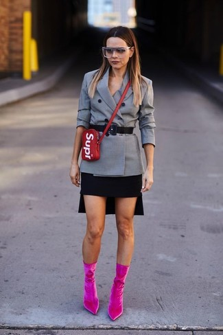 How to wear: red leather crossbody bag, hot pink velvet ankle boots, black mini skirt, grey check double breasted blazer