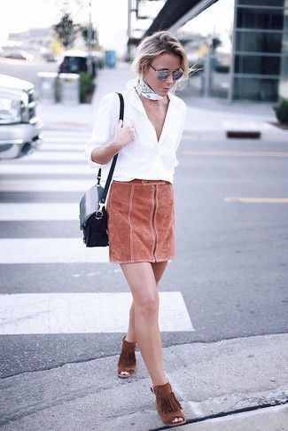 How to wear: navy leather crossbody bag, tobacco fringe suede ankle boots, tobacco suede mini skirt, white dress shirt
