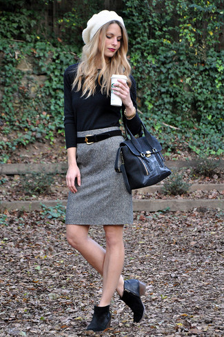 How to wear: black suede satchel bag, black suede ankle boots, grey wool pencil skirt, black crew-neck sweater