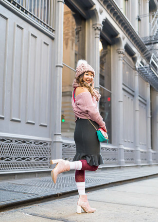 How to wear: mint leather crossbody bag, pink velvet ankle boots, black ruffle pencil skirt, pink knit cropped sweater