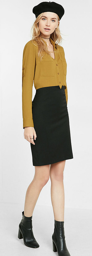 How to wear: black beret, black leather ankle boots, black pencil skirt, mustard dress shirt