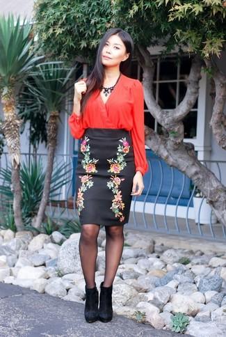 712223029575d9 No.21 No 21 Floral Print Duchesse Satin Pencil Skirt, £474 | NET-A ...
