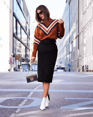 How to wear: black print leather crossbody bag, white leather ankle boots, black suede pencil skirt, tobacco chevron turtleneck