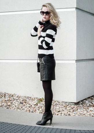 How to wear: black quilted leather crossbody bag, black leather ankle boots, black leather pencil skirt, black and white horizontal striped turtleneck