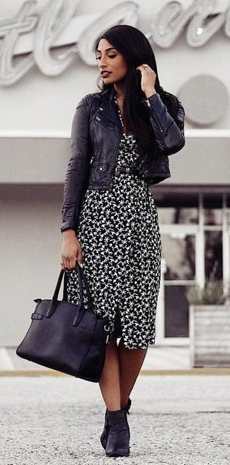 How to wear: black leather tote bag, black leather ankle boots, black and white print sheath dress, black leather biker jacket