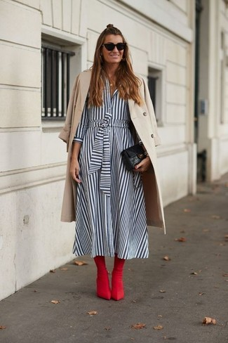 How to wear: black leather clutch, red leather ankle boots, white and blue vertical striped shirtdress, beige trenchcoat