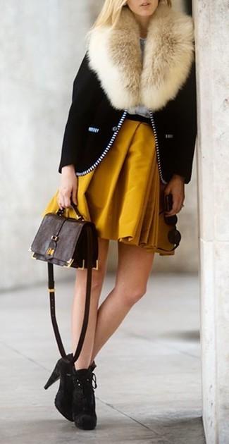 How to wear: dark brown leather crossbody bag, dark brown suede ankle boots, mustard skater skirt, black biker jacket