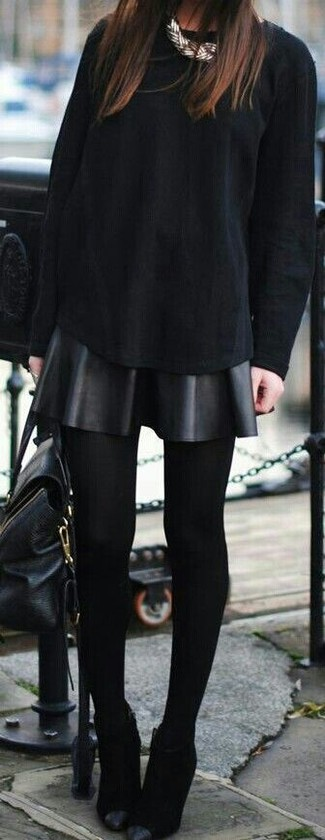 How to wear: black leather satchel bag, black suede ankle boots, black leather skater skirt, black long sleeve t-shirt