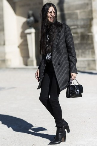 How to wear: black leather crossbody bag, black leather ankle boots, black skinny jeans, charcoal vertical striped coat