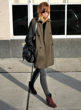 How to wear: black leather satchel bag, burgundy suede ankle boots, charcoal skinny jeans, olive coat