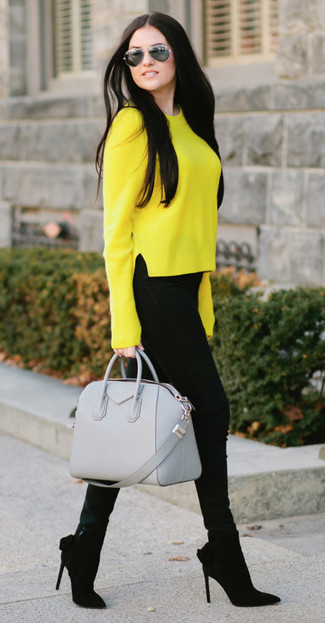 How to wear: grey leather satchel bag, black suede ankle boots, black skinny jeans, yellow crew-neck sweater