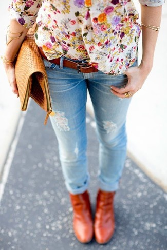 How to wear: tan leather clutch, tobacco leather ankle boots, light blue ripped skinny jeans, white floral henley shirt