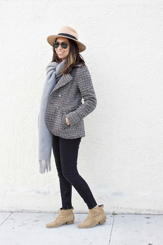 How to wear: khaki wool hat, tan suede ankle boots, black skinny jeans, white and black pea coat