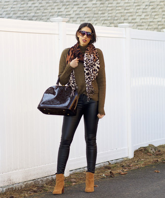 How to wear: black leather satchel bag, tan suede ankle boots, black leather skinny jeans, olive turtleneck
