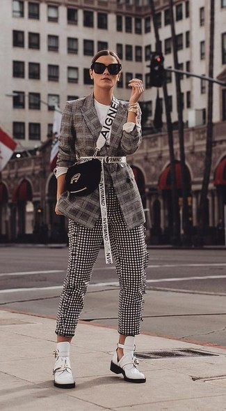 How to wear: black suede crossbody bag, white cutout leather ankle boots, black and white gingham skinny pants, dark brown plaid blazer