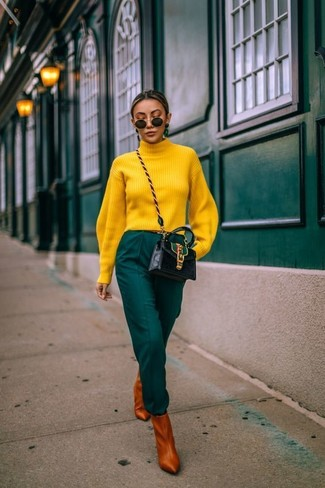 How to wear: black leather crossbody bag, tobacco leather ankle boots, dark green tapered pants, yellow turtleneck
