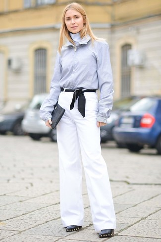 How to wear: black leather clutch, black embellished leather ankle boots, white wide leg pants, light blue dress shirt