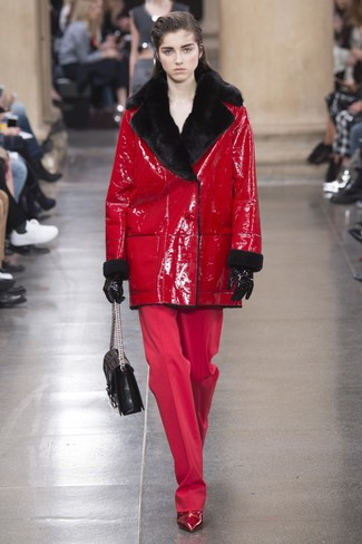 How to wear: black quilted leather satchel bag, red leather ankle boots, red wide leg pants, red shearling coat