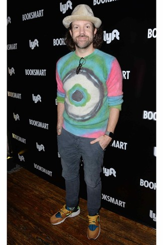 How to wear: beige wool hat, multi colored athletic shoes, charcoal chinos, multi colored tie-dye crew-neck sweater