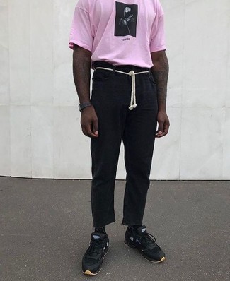 How to wear: black rubber watch, black athletic shoes, black linen chinos, pink print crew-neck t-shirt