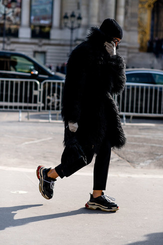 How to wear: black beanie, black athletic shoes, black chinos, black fur coat