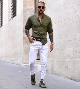 How to wear: dark brown leather belt, olive athletic shoes, white chinos, olive long sleeve shirt