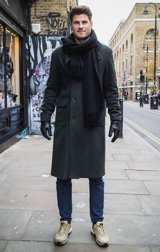 How to Wear a Dark Green Overcoat: Consider wearing a dark green overcoat and navy chinos and get ready to get the status of a men's fashion maven. A pair of tan athletic shoes effortlesslly ramps up the street cred of this look.