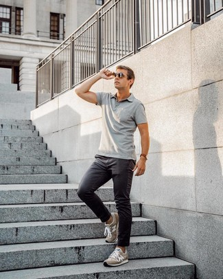 How to wear: dark brown sunglasses, brown suede athletic shoes, charcoal chinos, grey polo