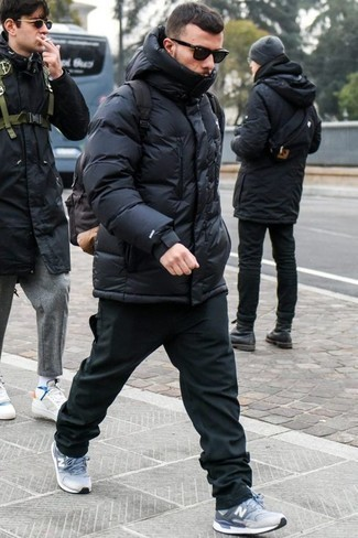 How to Wear a Black Puffer Jacket For Men: For an ensemble that's extremely easy but can be styled in a multitude of different ways, try teaming a black puffer jacket with black chinos. Puzzled as to how to finish off? Add light blue athletic shoes to the mix for a more relaxed finish.