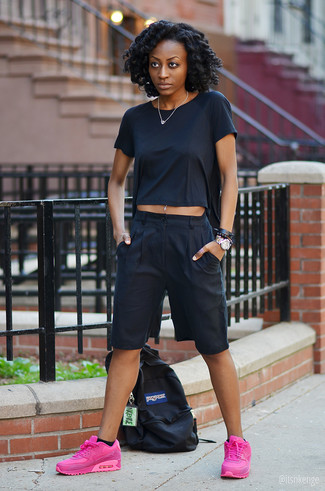 How to wear: black canvas backpack, hot pink athletic shoes, black culottes, black crew-neck t-shirt