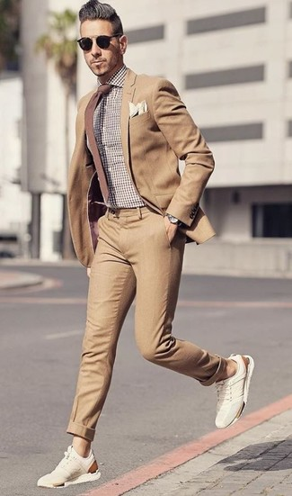 How to wear: brown tie, beige suede athletic shoes, brown gingham dress shirt, tan suit