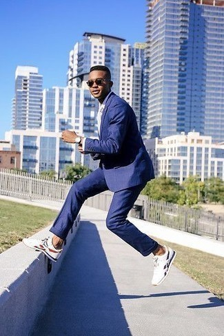 How to Wear White Athletic Shoes For Men: A blue suit and a white dress shirt are among the fundamental elements of any versatile wardrobe. Let your styling prowess really shine by rounding off with a pair of white athletic shoes.