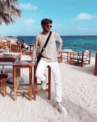 How to wear: dark brown canvas messenger bag, white athletic shoes, white jeans, beige cable sweater