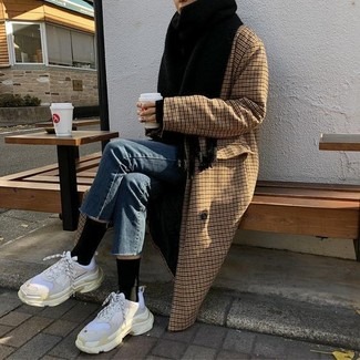 How to wear: black scarf, white athletic shoes, blue jeans, brown check coat