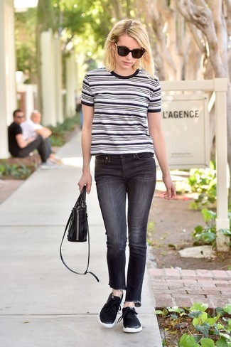 How to Wear a White and Black Horizontal Striped Crew-neck T-shirt For Women: Showcase your outfit coordination prowess by wearing this casual pairing of a white and black horizontal striped crew-neck t-shirt and black jeans. Feeling venturesome today? Change things up a bit by rocking a pair of black athletic shoes.