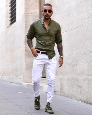 How to wear: dark brown leather belt, olive athletic shoes, white jeans, olive long sleeve shirt