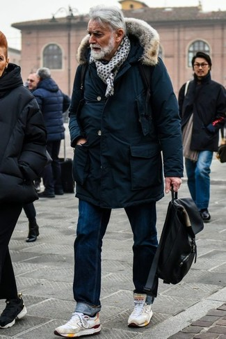 Men's Looks & Outfits: What To Wear In a Relaxed Way: For an ensemble that's very straightforward but can be styled in a multitude of different ways, consider wearing a navy parka and navy jeans. To give your ensemble a more laid-back vibe, introduce a pair of white athletic shoes to the mix.